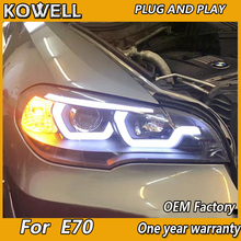 KOWELL Car Styling Head Lamp for X5 Headlights 2007 2013 E70 Angel Eye Headlight LED DRL Signal Lamp Hid Bi Xenon Auto Accessori