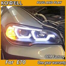KOWELL Car Styling lampa czołowa do reflektorów X5 2007 2013 E70 Angel Eye reflektor LED DRL lampka sygnalizacyjna Hid Bi Xenon Auto accesori