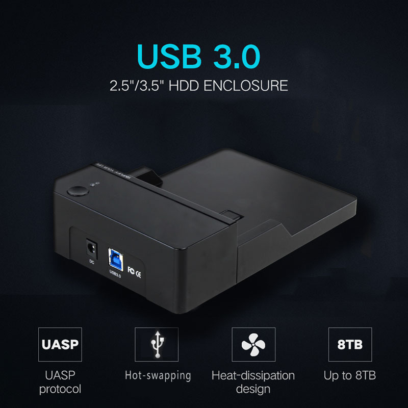 Portable 3.5-inch Sata III to USB3.0 external HDD/SSD hard disk drive enclosure/case 6Gbps UASP for Desktop/Notebook/Macbook ugreen hdd enclosure sata to usb 3 0 hdd case tool free for 7 9 5mm 2 5 inch sata ssd up to 6tb hard disk box external hdd case