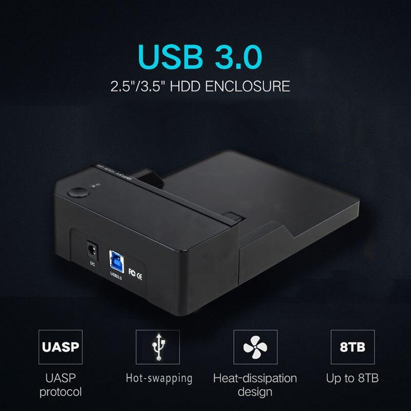 Portable 3.5 pouces Sata III à USB3.0 externe HDD/SSD disque dur boîtier/cas 6 Gbps UASP pour Bureau/Ordinateur Portable/Macbook
