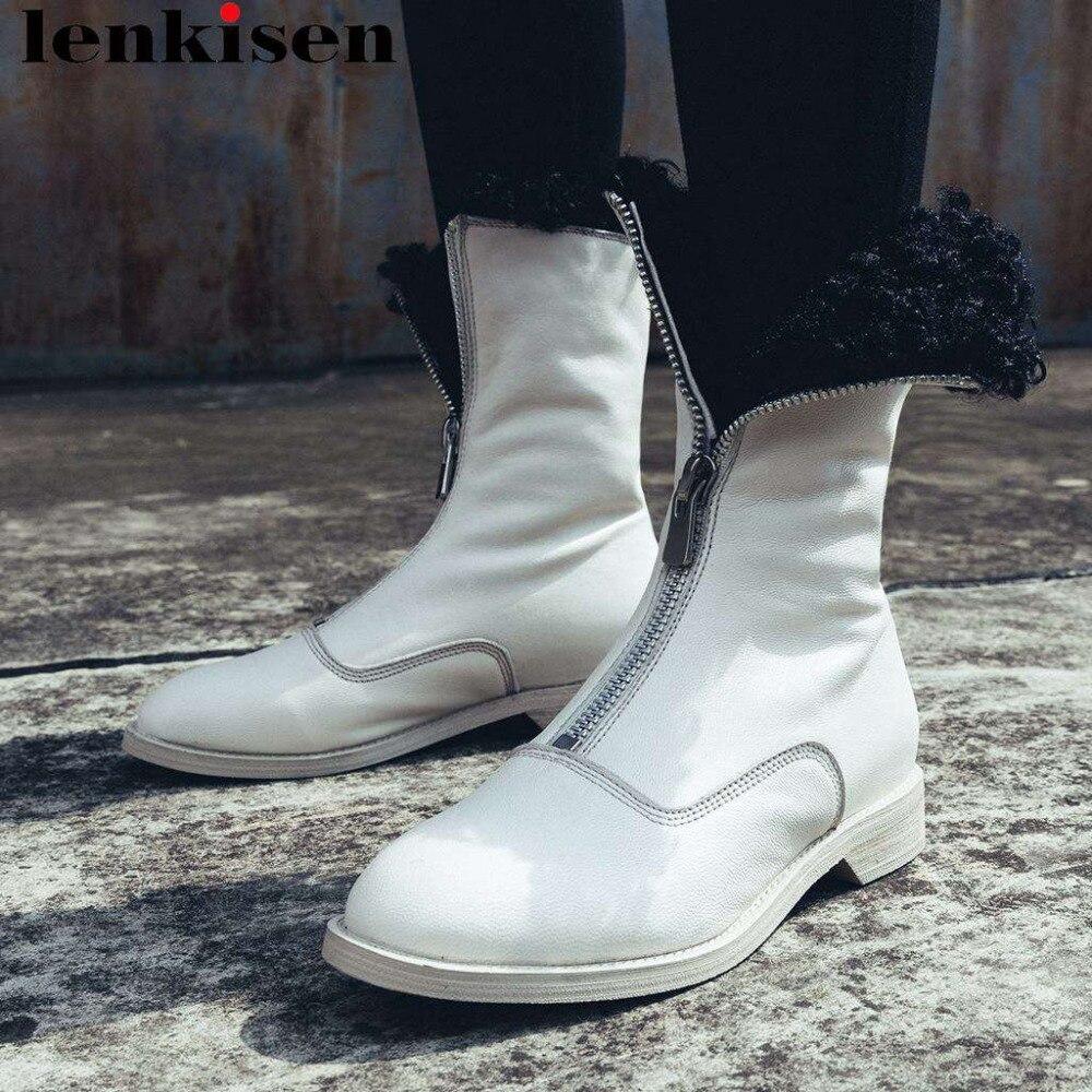 Lenkisen luxury warm real fur snow boots handmade genuine leather metal zipper low heels pretty girls