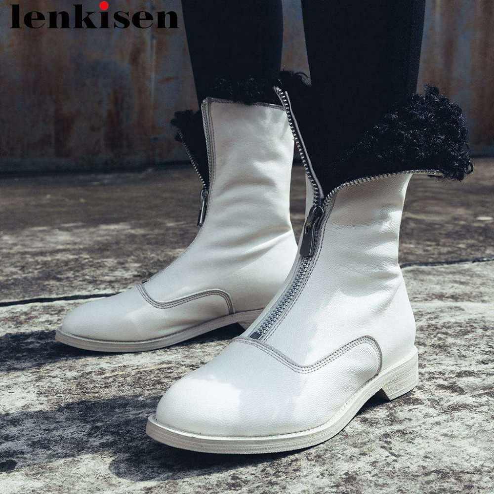 Lenkisen/Роскошные теплые зимние сапоги на натуральном меху ручной работы из натуральной кожи с металлической молнией на низком каблуке; красивые модельные сапоги для подиума для девочек; L78