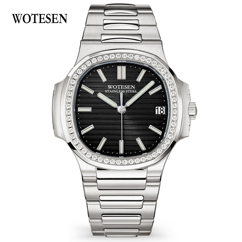 WOTESEN Top Men Sports Brand Luxury Watches Men Quartz Steel Army Military Chronograph Male Business Watches Waterproof(China)