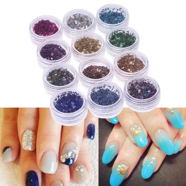 12pcs/ box 12 Colors Nail Decorations Stickers Glitter Tips Metal ...