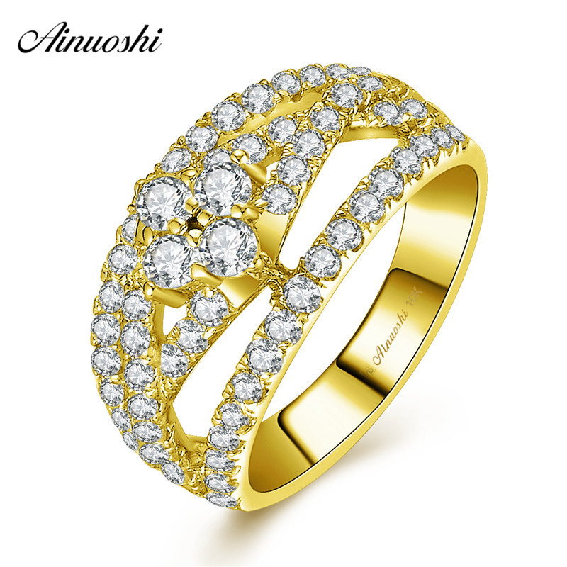 AINUOSHI 10k Solid Yellow Gold Twisted Ring Woman Wedding Engagement Jewelry 0.26ct Round Cut Weaving Bridal Band Hollowed Ring