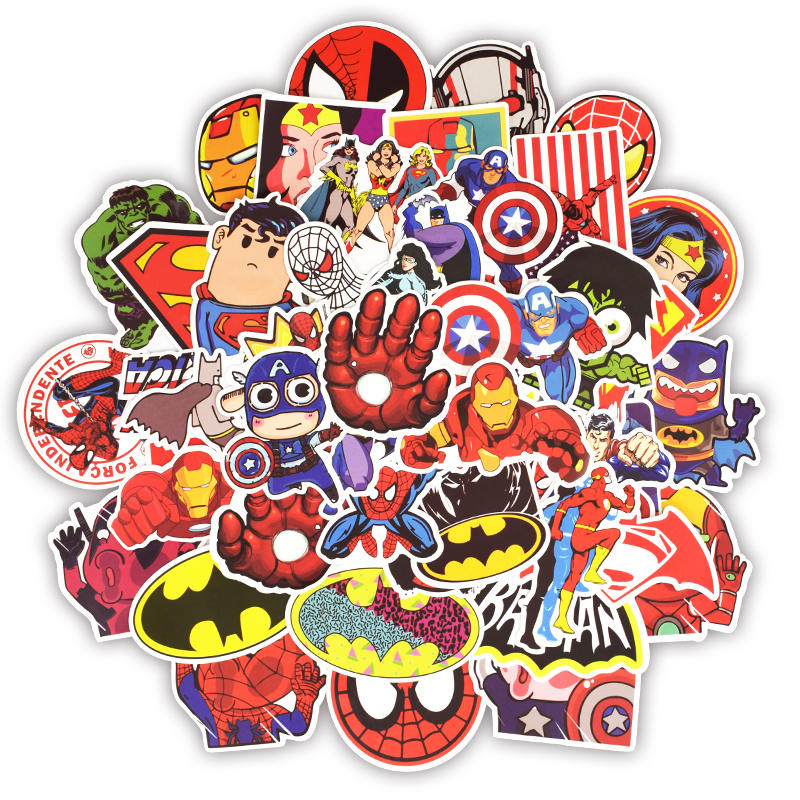 Image 2 - 50pcs Super Hero Marvel Stickers Movies Character Deco Sticker For DIY Skateboard Motorcycle Luggage Laptop Cartoon Sticker Sets-in Laptop Skins from Computer & Office