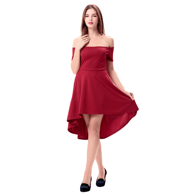 Elegant Party Dresses 2018 Burgundy Rage Slash Neck Off Shoulder