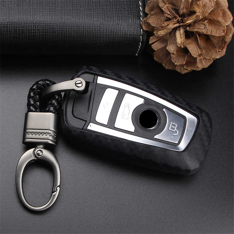 รถพวงกุญแจพวงกุญแจสำหรับ Bmw 5 Gt F10 G30 E39 E60 F11 E90 E46 F30 X5 F15 E43 คาร์บอนไฟเบอร์ซิลิโคนเปลือก