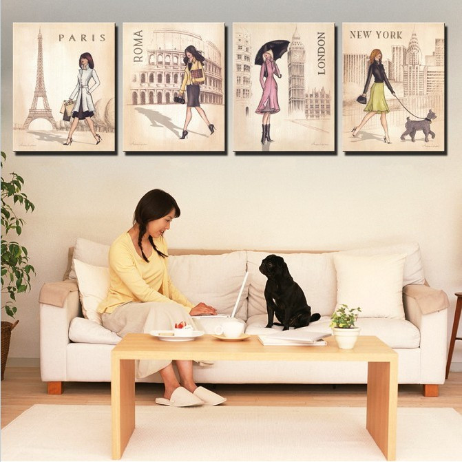 Us 15 19 5 Off 4 Piece Wall Art Canvas New York Paris London Oil Painting On The Wall Unframed Wall Pictures For Living Room Modern Paintings In