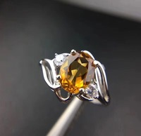 Natural real citrine Ring 925 sterling silver Fine yellow crystal jewelry Handworked jewelry 6*8mm