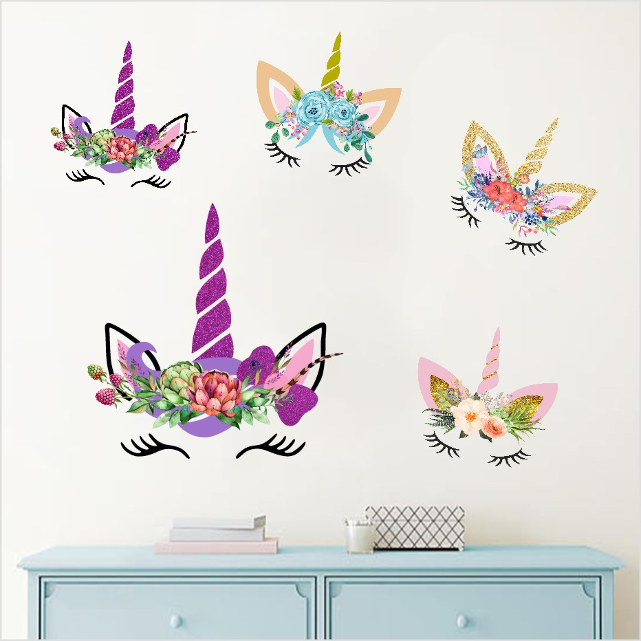 Cartoon Unicorn Head Color Wall Stickers For Bedroom Play