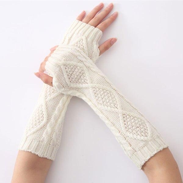1pair Winter Mitten Warm Arm Fingerless Diamond Knitted Long Gloves Mittens Men Women Fashion Accessories LF88