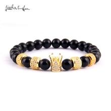 купить WML Luxury men bracelet natural stone bead CZ column & crown Charm Bracelets & Bangles for women Jewelry по цене 603.77 рублей
