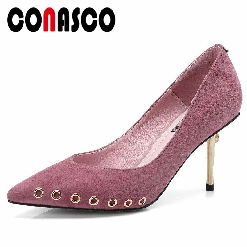 Fiesta Conasco Boda Zapatos Damas Remaches Bombas Vestido Punta De Moda Negro Sexy Punk rosado Oficina La Mujeres Mujer Nuevos vPzvHr