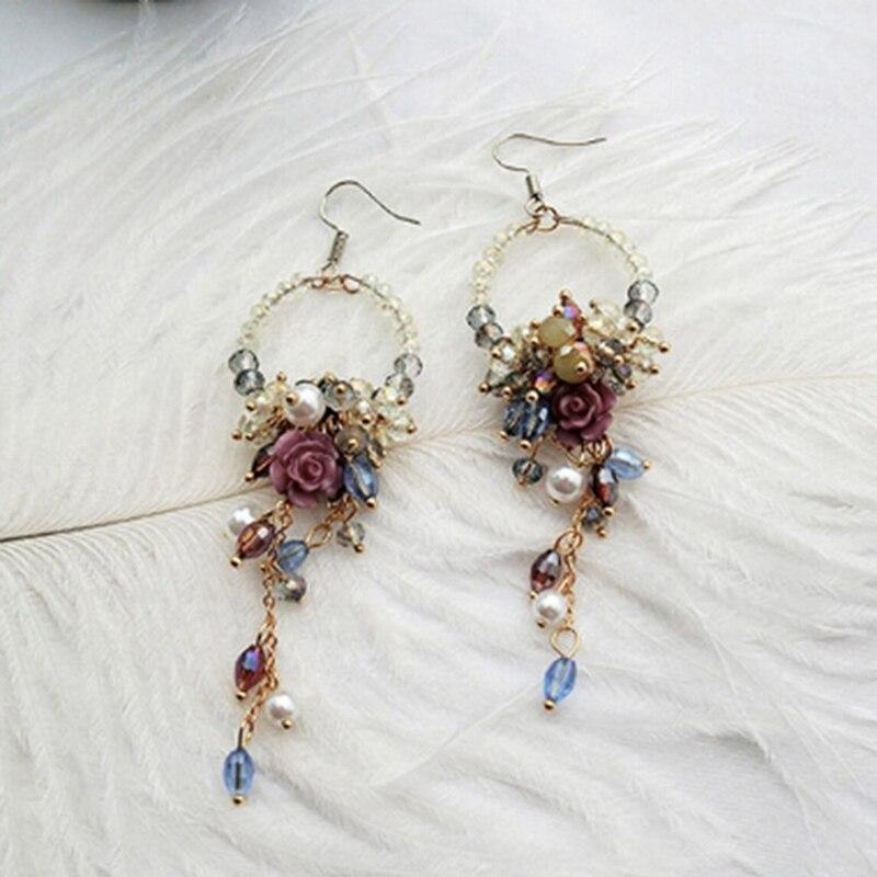 2018 Koreanischen Ohr Zubehör Fashion Statement Ohrringe Strass Blume Perlen Quaste Ohrringe Neue Schmuck