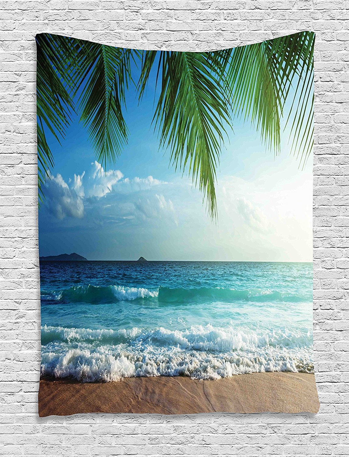 Ocean Tapestry Decor by AmbesonnePalms Trees Tropical Island Beach Seashore Water Waves Hawaiian Nautical Marine