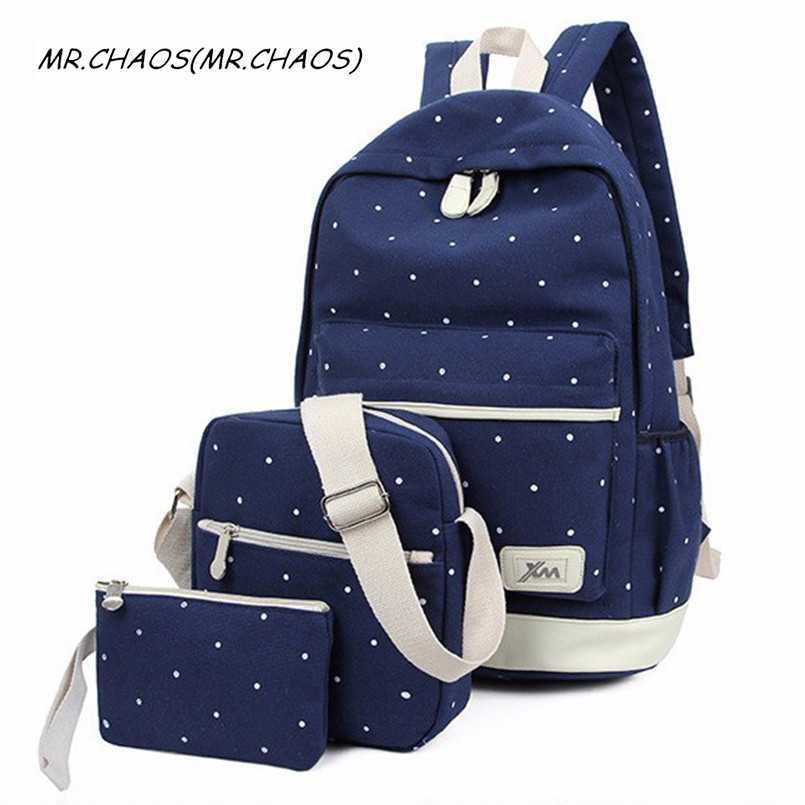 2017 New 3Pcs Korean Casual Women Backpacks canvas backpack 3 piece School back bag for Teenage