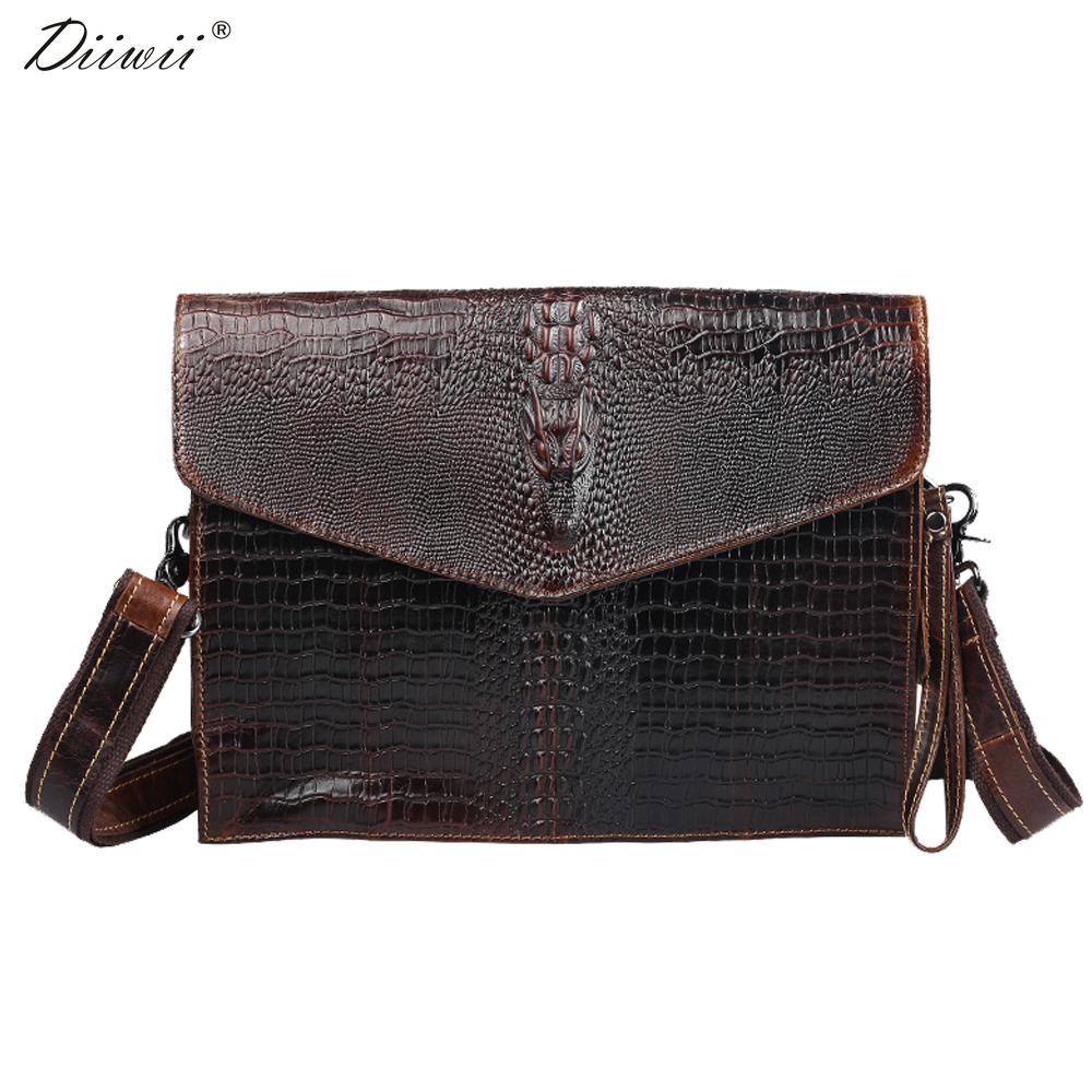 ФОТО Diiwii bag 2017 genuine leather men bags cowhide leather alligator shaped crossbody bag men messenger bags
