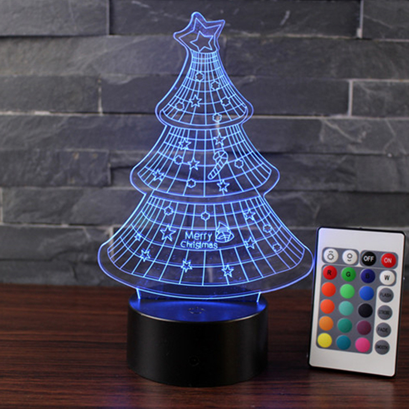 Newest Christmas Gift Christmas Tree Lava Lamp 7 Color 3D LED Night ...
