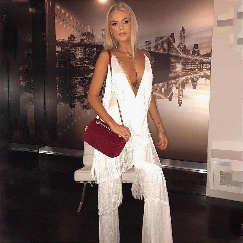 Fuedage borla 2 piezas de las mujeres Top y pantalones de las mujeres de blanco negro Backeless Sexy trajes de verano de dos piezas 2018