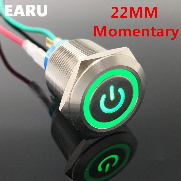 22mm Waterproof Momentary Stainless Steel Metal Lamp LED Horn Power Push Button Switch Car Auto Engine Start PC Computer Power