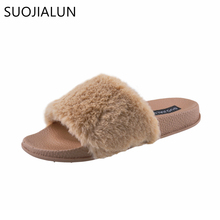 SUOJIALUN Women Fur Slippers Fashion Spring Summer Autumn Plush Slippers Fluffy Fur Slides Flip Flops Flat Shoes