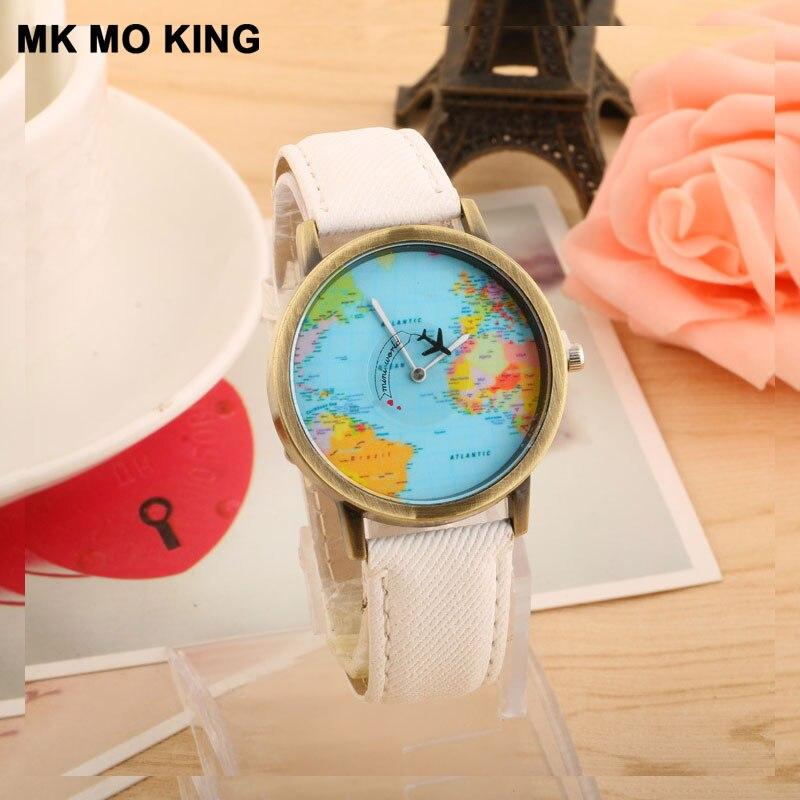 Luxury Brand Classic Bronze Aircraft Map Rotating Men's Women's Watch Belt Quartz Clock Bracelet Dw Mk Couple Gifts For Men