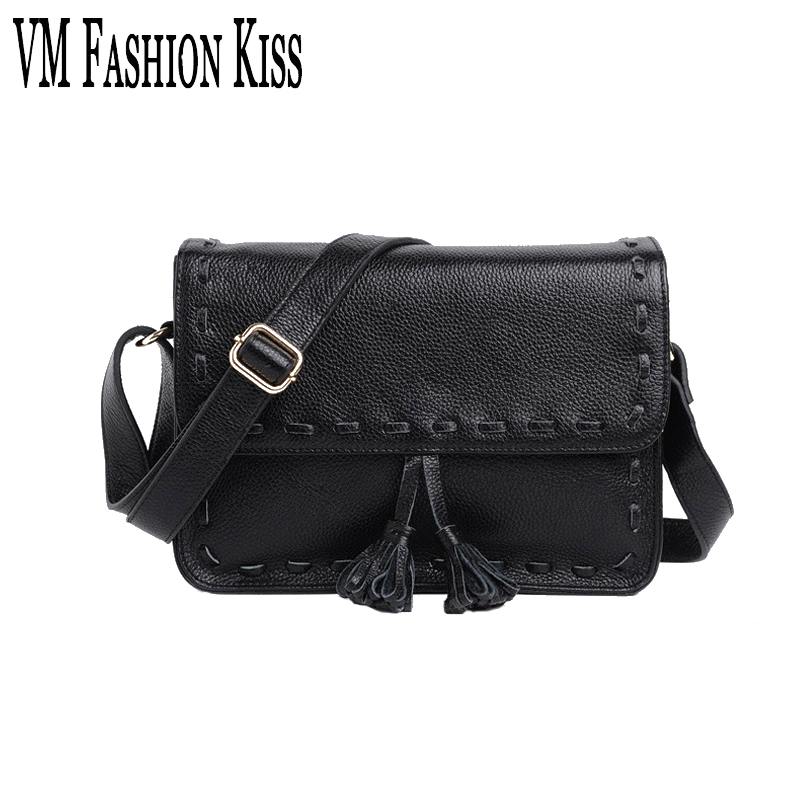 VM FASHION KISS Women Messenger Shoulder Bags First Layer Cowhide Crossbody Bag Ladies Embossing Genuine Leather Casual Small qiaobao 100% genuine leather women s messenger bags first layer of cowhide crossbody bags female designer shoulder tote bag