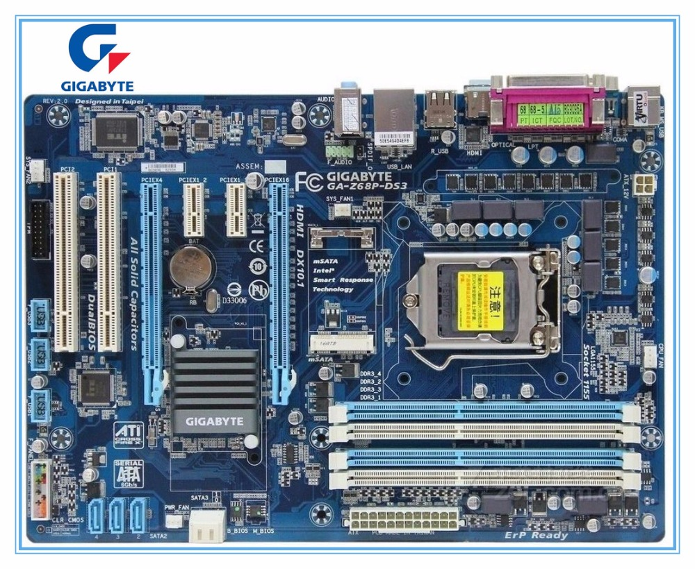 Gigabyte desktop motherboard for  GA-Z68P-DS3 DDR3 LGA 1155 Z68P-DS3 mainboard free shipping gigabyte ga h61m s1 desktop motherboard h61 socket lga 1155 i3 i5 i7 ddr3 16g uatx uefi bios original h61m ds1 used mainboard