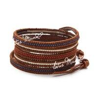 Lotus mann ultrafine antique gommage brun cercle 5 écru en cuir bracelet en cuir cordon bracelet