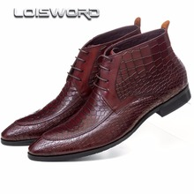 LOISWORD Large size EUR46 Serpentine dress shoes mens ankle boots genuine leather formal boots pointed toe