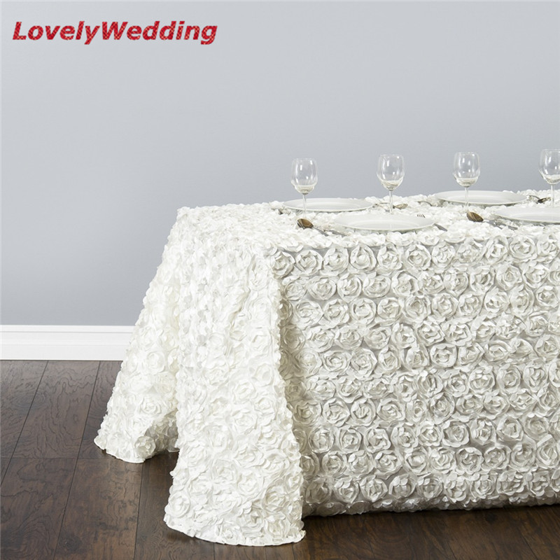 Rose Embroidery Table Linens Wedding Decoration 2pcs Lot Rectangular Rosette Satin Tablecloth Cover In Tablecloths From Home Garden