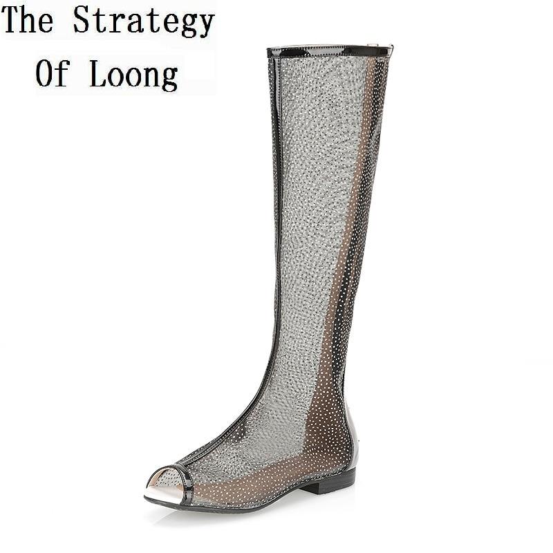2017 New Summer Women Flats Cut Out Long Boots Open The Toe Summer Boots Knee High Gladiator Peep Toe Sandals Boots SXQ0604
