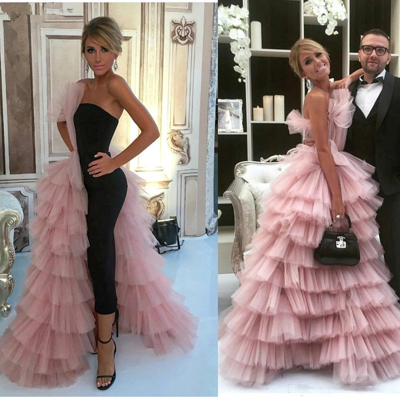 Pink Muslim Evening Dresses A-line Tulle Tiered Elegant Islamic Dubai Saudi Arabic Long Formal Evening Gown