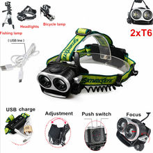 4000Lm 2x Zoom XM-L T6 LED Headlamp Headlight 2T6 Head Light Torch Camping Hunting Head lamp For 2* 18650 Battery