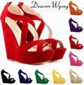 free shipping fmeale sexy 14cm platform wedges peep toe cross belt zipper sandal heels, women's fashion platform party heels