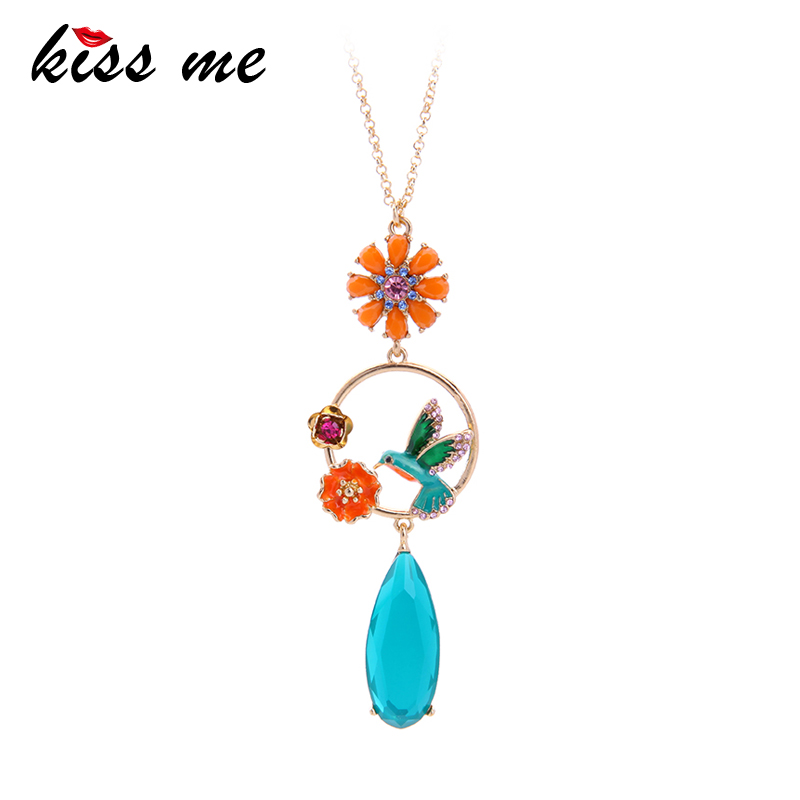 KISS ME Blue Water Drop Enamel Flower Bird Pendant Necklace Cute Fashion Necklaces for Women Party Jewelry