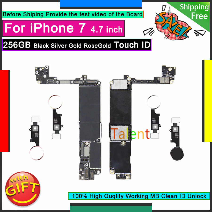 For IPhone 7 Motherboard 256GB Black Silver Gold RoseGold Touch ID Unlock Disassembly Mainboard Good Working Logic Board Tested