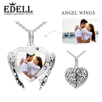 EDELL 100% 925 Sterling Silver Original DIY Photo Charm Pendant Angel Wings Personalized DIY Kids Family Lovers Album Necklace