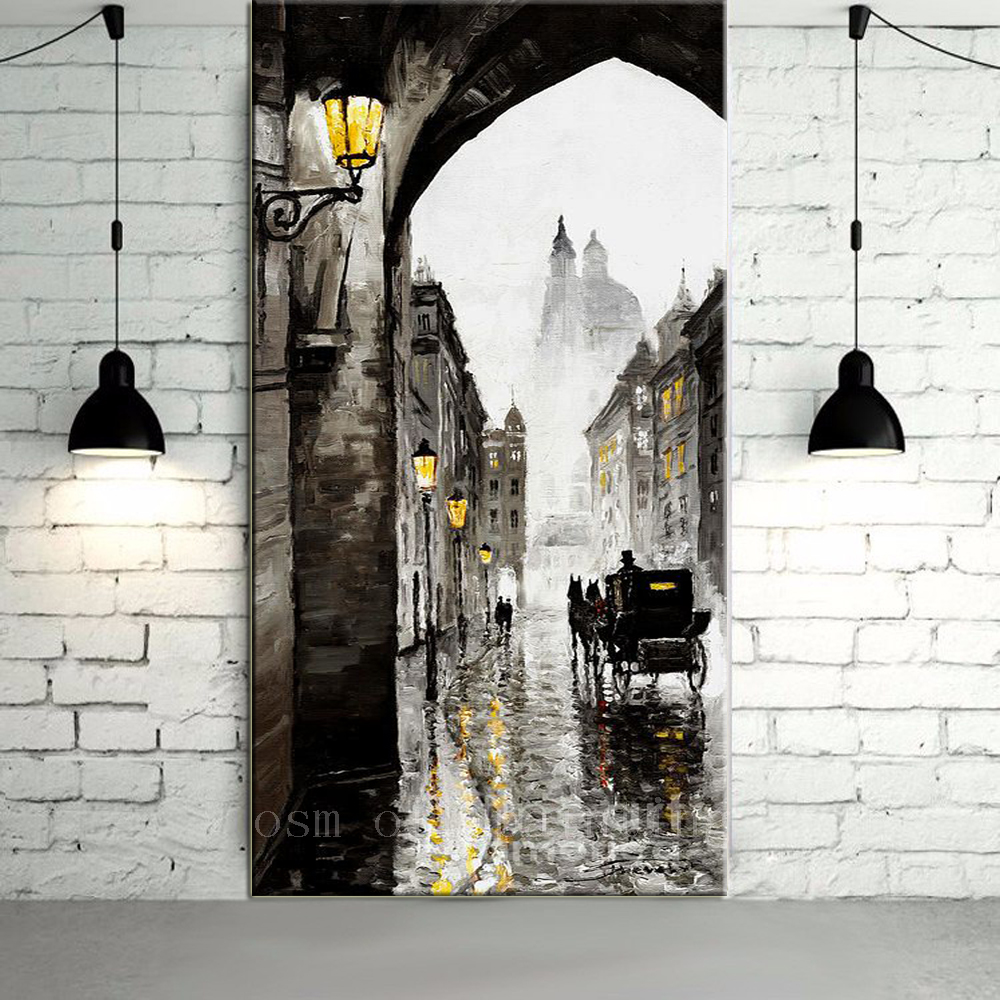 Handpainting Abstract White and Black Color Europe Style Streetscape Wall Artwork Horse Carriage Knife Oil Paainting on CanvasHandpainting Abstract White and Black Color Europe Style Streetscape Wall Artwork Horse Carriage Knife Oil Paainting on Canvas