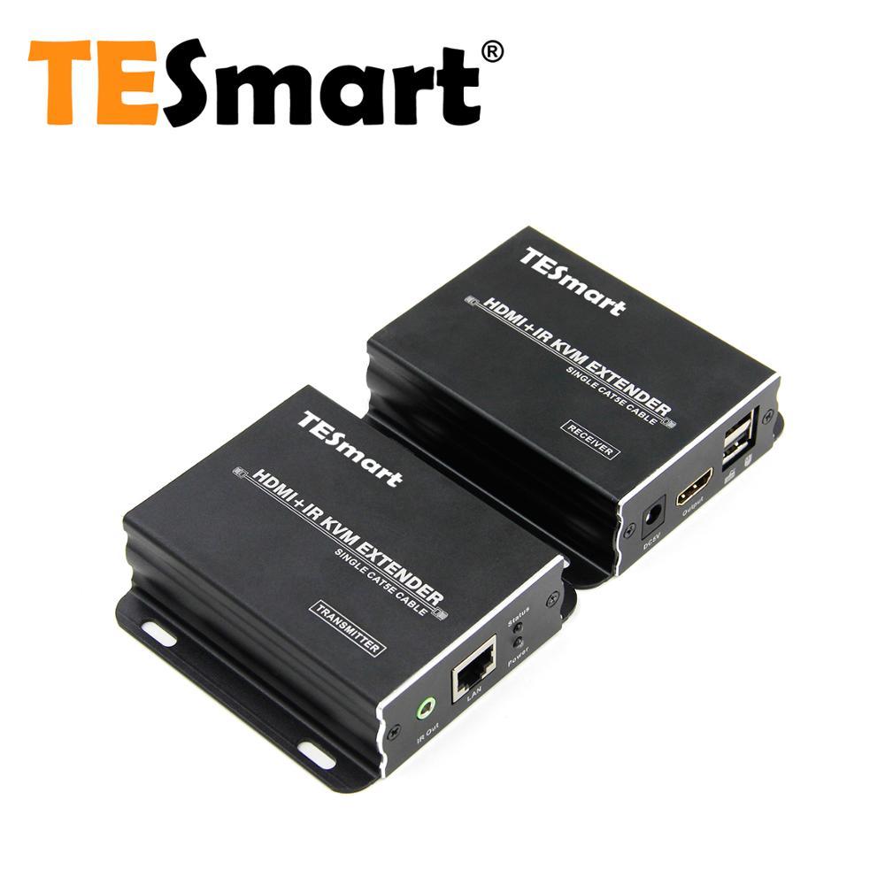 TESmart KVM HDMI Extender  60m USB HDMI IR KVM Extender By CAT5e/6 (1 Extender TX+1 Extender RX) Support 1920*1080@60Hz
