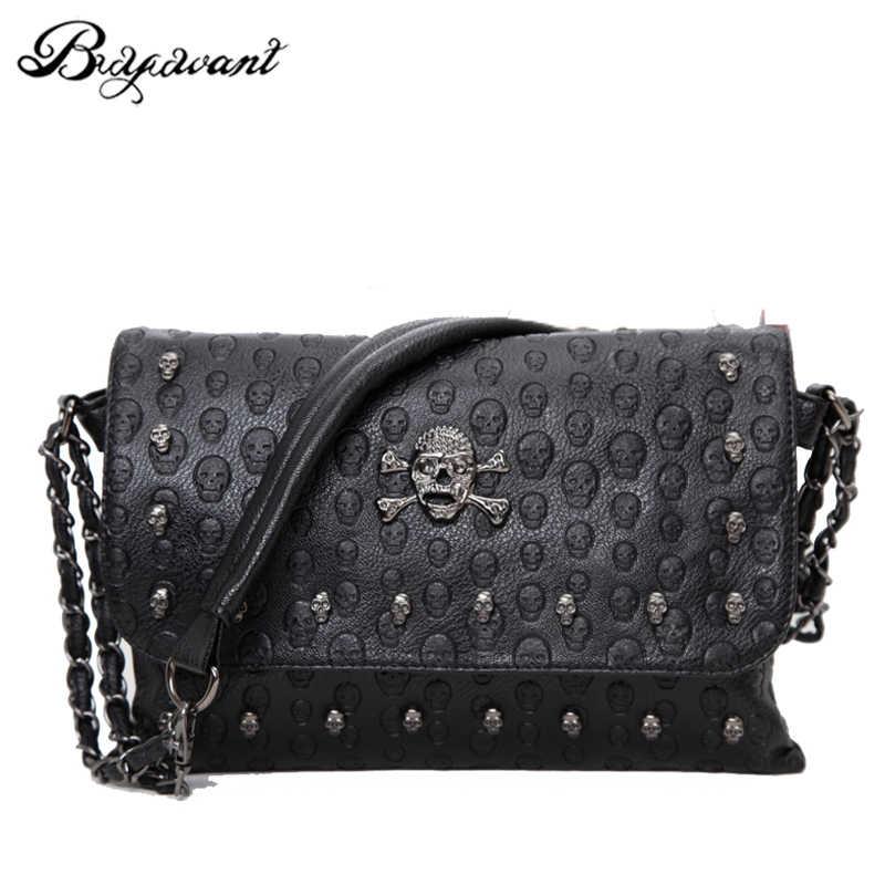 717c7c2653 Buyuwant 2018 Summer new women s bag skull envelope shoulder bag rivet  retro handbag gothic lady purse