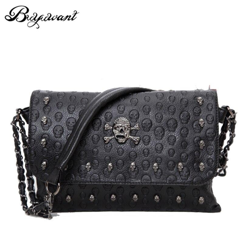 Buyuwant 2018 Summer new women's bag skull envelope shoulder bag rivet retro handbag gothic lady purse BM01-SB-kltxfg 1