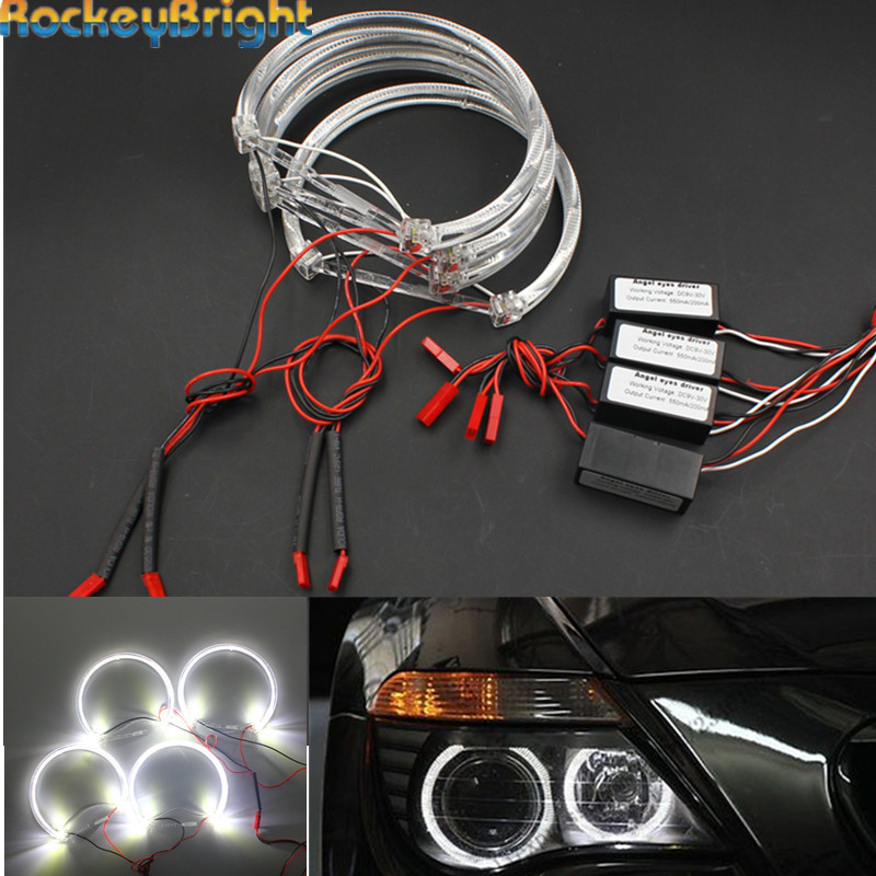 Rockeybright 4*131mm voiture Led ange yeux pour BMW E36 E46 E39 E38 7 série xénon blanc Led ange yeux lumières Halo anneau phare