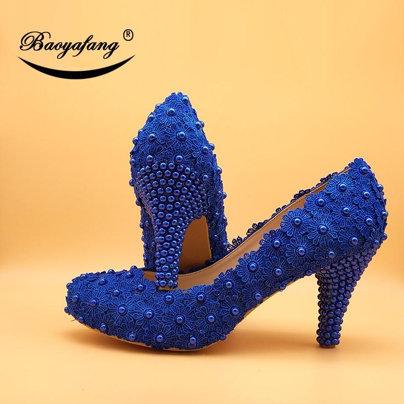 BaoYaFang Blue flower Women wedding shoes Bridal High heels Platform shoes woman party dress shoes 6cm