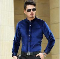 High quality male long sleeve velvet shirt mens spring & autumn fashion mandarin collar gold velvet dress shirt
