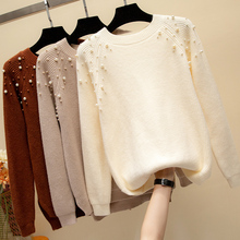 Sweaters Fashion 2018 Women Faux Pearl Beading Sweater Women Autumn Winter Jumper Knitted Pullover Sweater Pull Femme Hiver