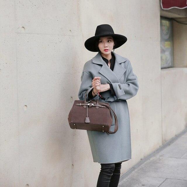 2017 новое прибытие Модные женские теплое пальто Outerwears Нагрудные Карманы Нагрудные С Длинным Рукавом Двойной Карманы Шерстяные Пальто бесплатная доставка S-XL