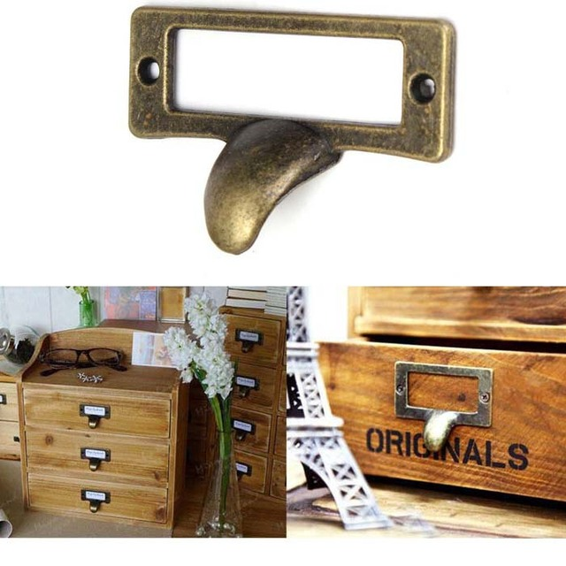 Mm Antique Brass Cabinet Handle Vintage Card Holder Drawer Pull Label Frames Holders