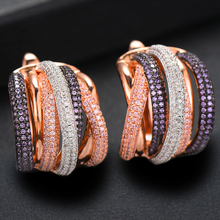 SisCathy 2019 Fashion Jewelry Luxury Twist Braided Lines Colorful Full Mirco Cubic Zirconia Setting European Wedding Earrings цена